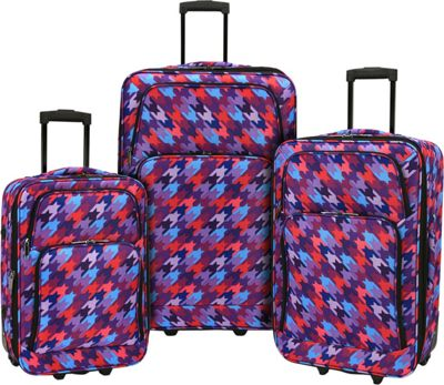 Elite Luggage Print 3 Piece Expandable Rolling Luggage Set Houndstooth - Elite Luggage Luggage Sets