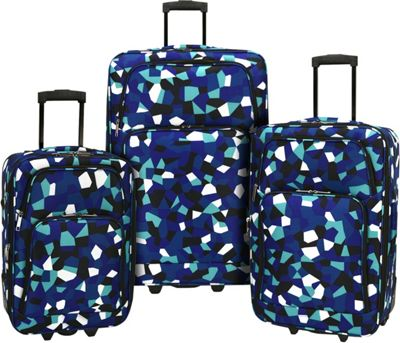 Elite Luggage Print 3 Piece Expandable Rolling Luggage Set Blue Geo - Elite Luggage Luggage Sets