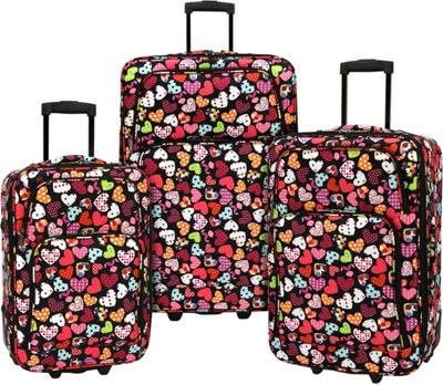 Elite Luggage Print 3 Piece Expandable Rolling Luggage Set Love Hearts - Elite Luggage Luggage Sets