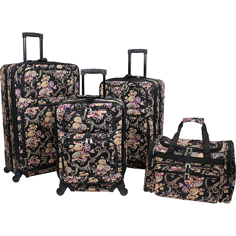World Traveler Classic Floral 4 Piece Rolling Expandable Spinner Luggage Set Classic Floral - World Traveler Luggage Sets - Luggage, Luggage Sets