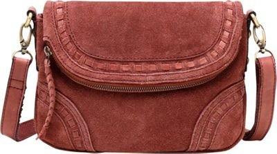 Vicenzo Leather Mae Suede Leather Crossbody Handbag Chestnut - Vicenzo Leather Leather Handbags