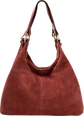Vicenzo Leather Joi Suede Leather Handbag Chestnut - Vicenzo Leather Leather Handbags