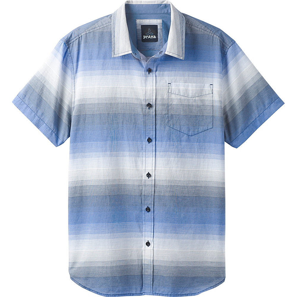PrAna Tamrack Stripe Short Sleeve Shirt M - Equinox Blue - PrAna Mens Apparel - Apparel & Footwear, Men's Apparel
