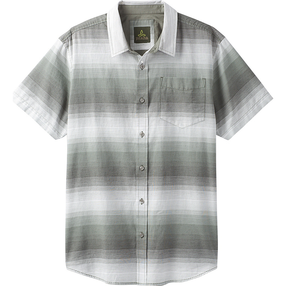 PrAna Tamrack Stripe Short Sleeve Shirt M - Gravel - PrAna Mens Apparel - Apparel & Footwear, Men's Apparel