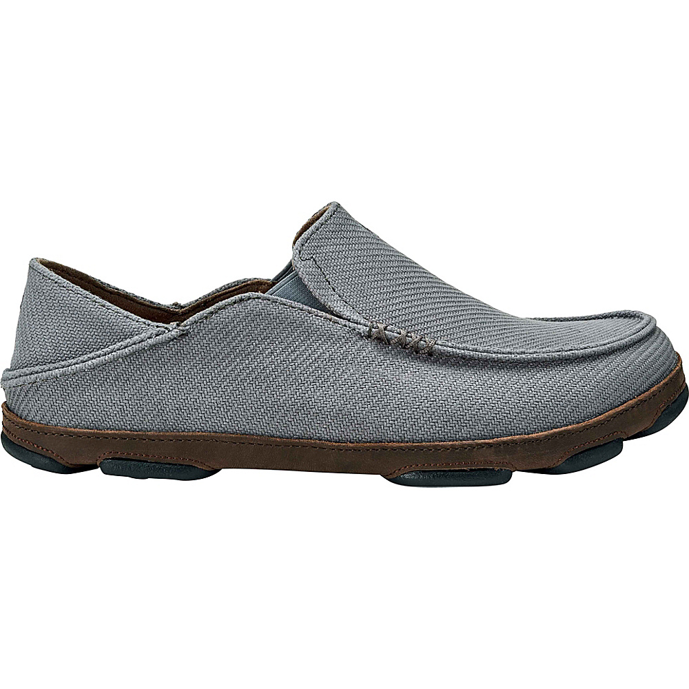 OluKai Moloa Kapa Slip On 8 - Charcoal/Dark Wood - OluKai Mens Footwear - Apparel & Footwear, Men's Footwear