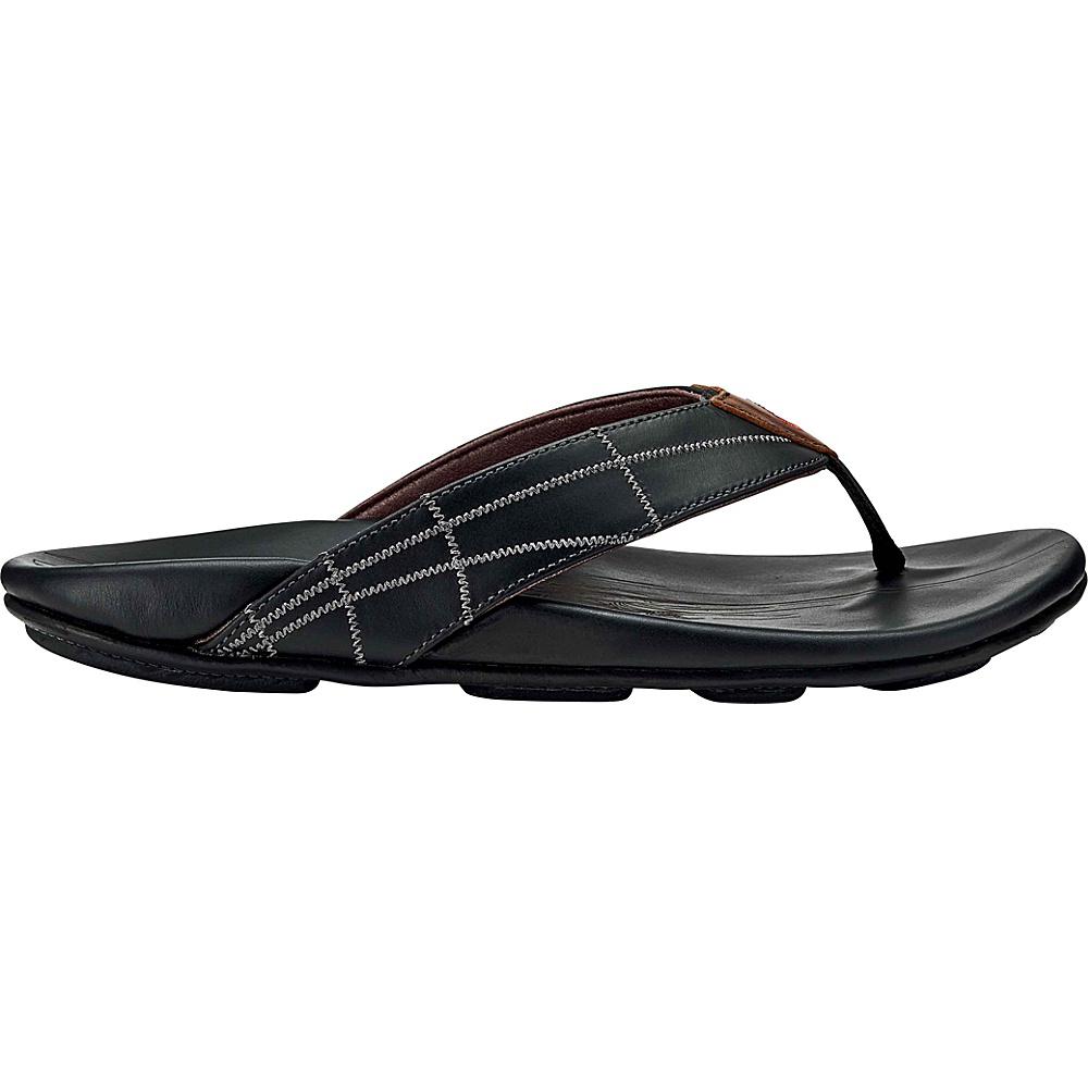OluKai Mens Hokulea Kia Sandals 15 - Black/Black - OluKai Mens Footwear - Apparel & Footwear, Men's Footwear