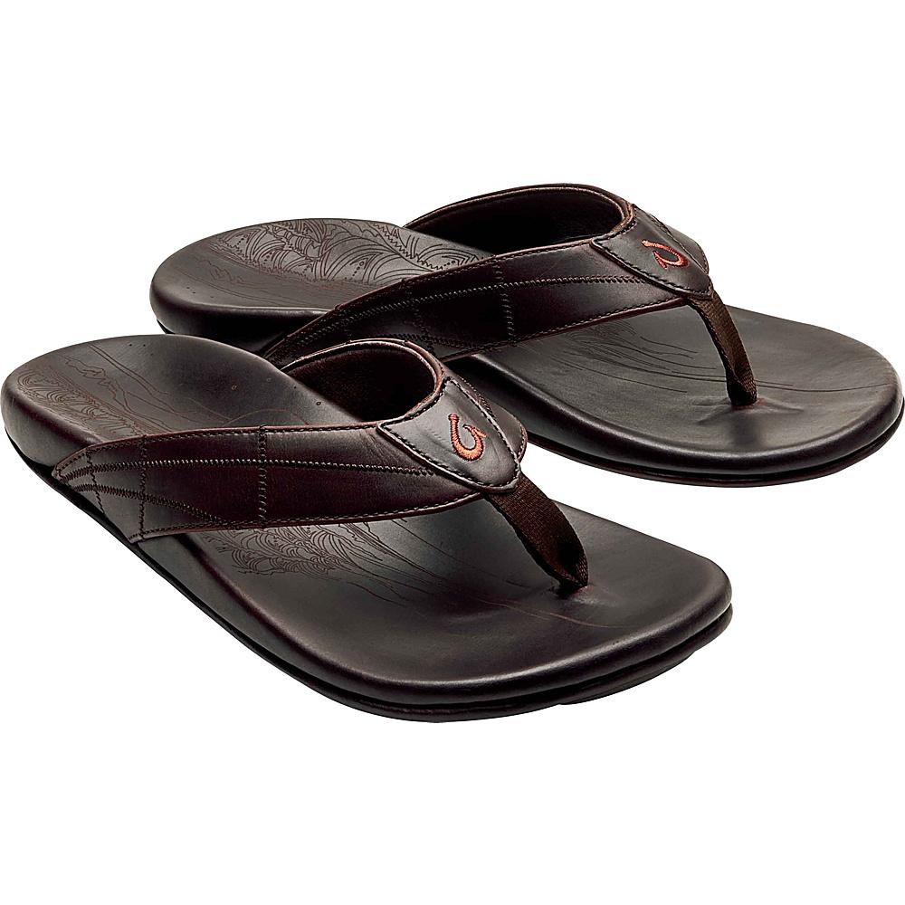 OluKai Mens Hokulea Kia Sandals 8 - Dark Wood/Dark Wood - OluKai Mens Footwear - Apparel & Footwear, Men's Footwear