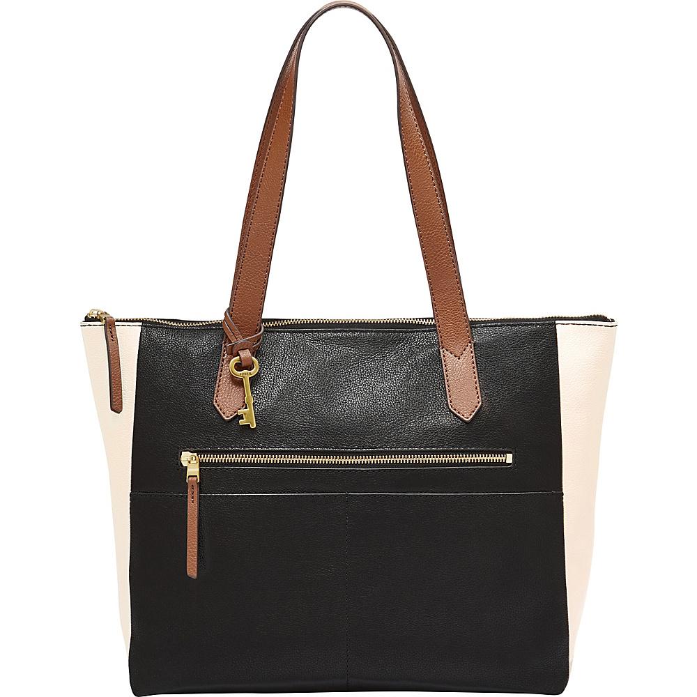 Fossil Fiona EW Tote Black/White - Fossil Leather Handbags - Handbags, Leather Handbags
