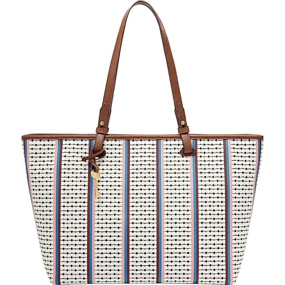 Fossil Rachel Tote Ecru Multi Stripe - Fossil Manmade Handbags - Handbags, Manmade Handbags