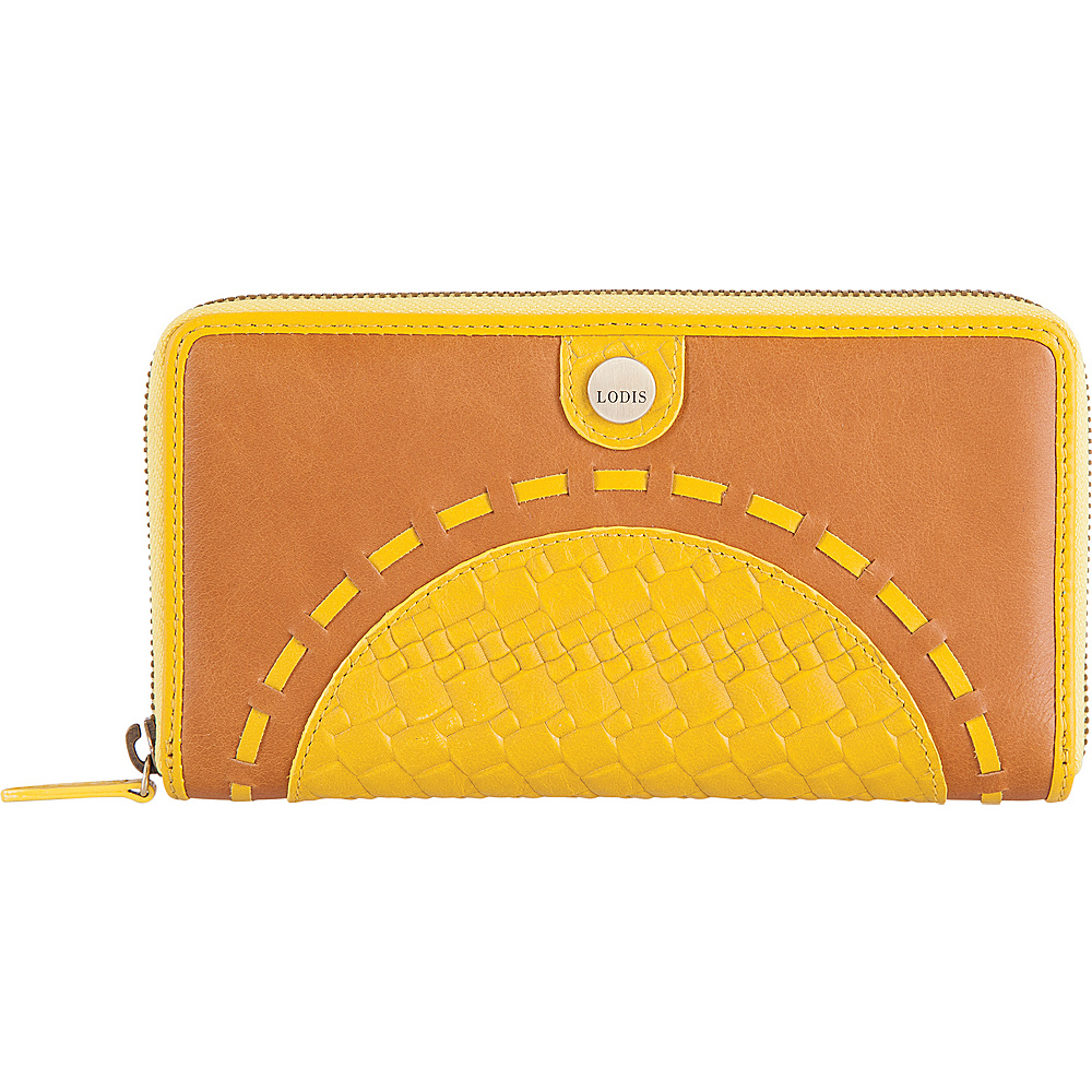 Lodis Rodeo Woven RFID Perla Zip Wallet Yellow - Lodis Womens Wallets - Women's SLG, Women's Wallets