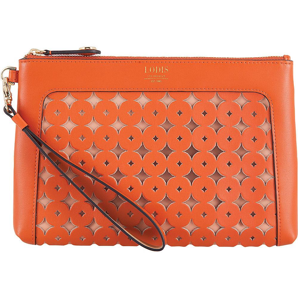 Lodis Laguna Perf RFID Koto Wristlet Pouch Papaya - Lodis Leather Handbags - Handbags, Leather Handbags