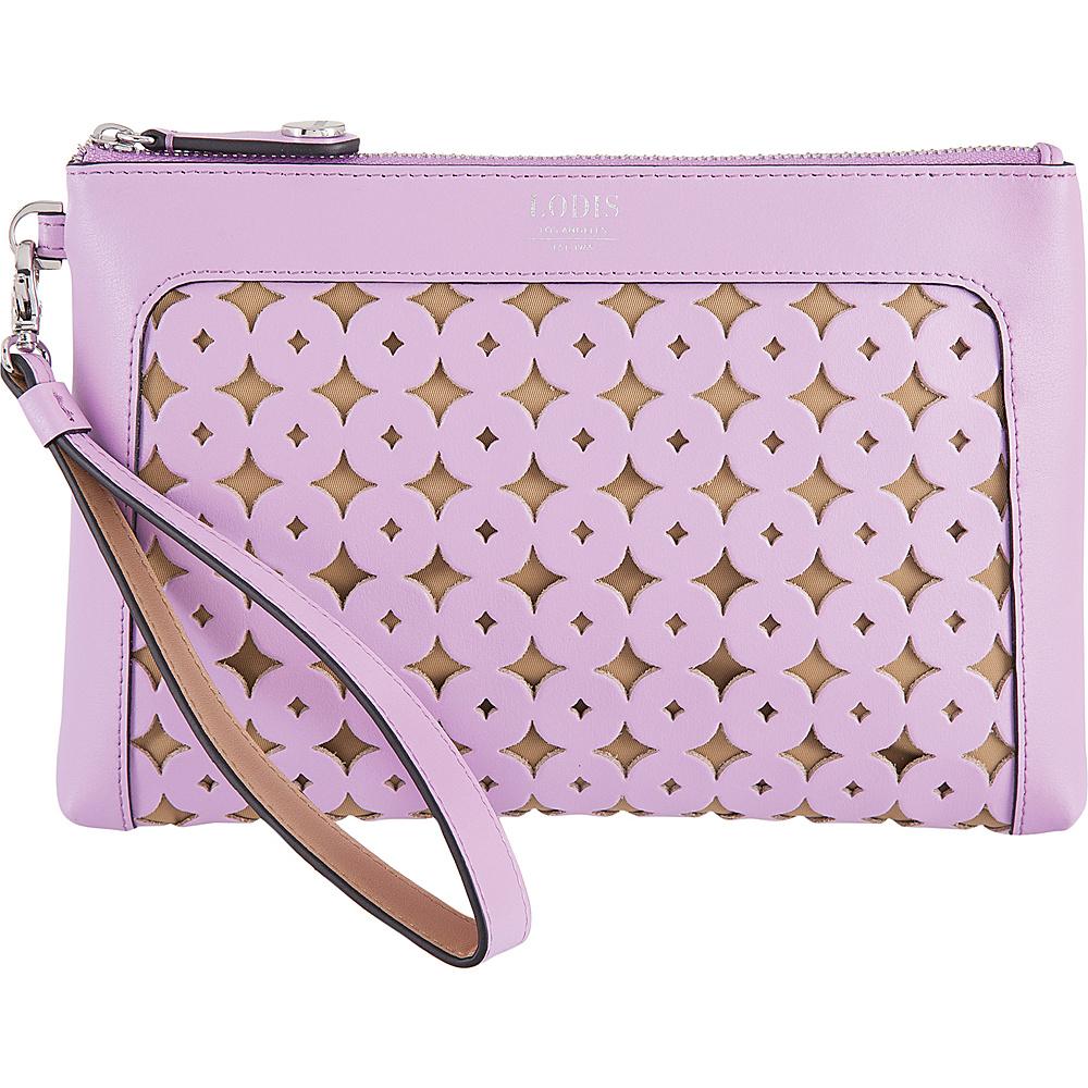 Lodis Laguna Perf RFID Koto Wristlet Pouch Lavender - Lodis Leather Handbags - Handbags, Leather Handbags
