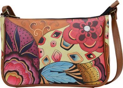 ANNA by Anuschka Hand Painted Mini Wide Crossbody Tribal Potpourri - ANNA by Anuschka Leather Handbags