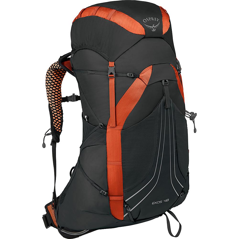Osprey Exos 48 Hiking Backpack Blaze Black – MD - Osprey Backpacking Packs - Outdoor, Backpacking Packs