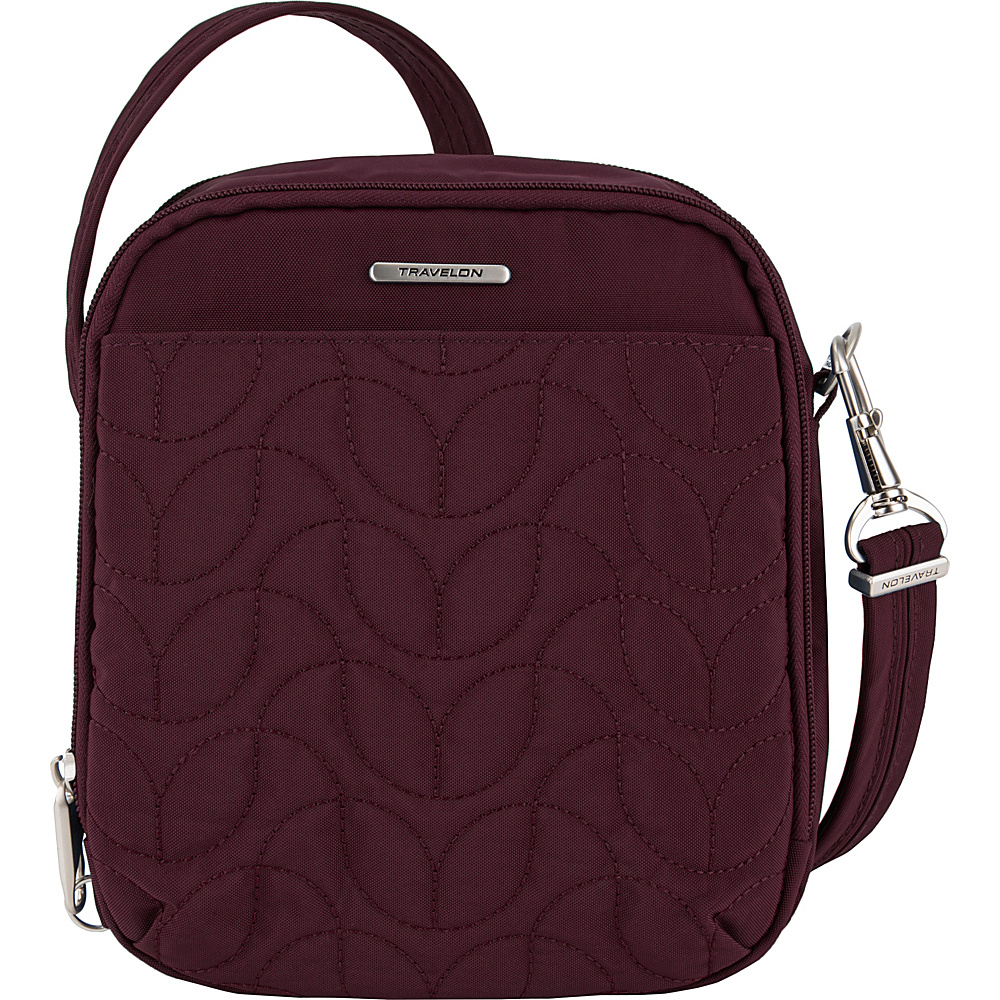 Travelon Anti-Theft Quilted Tour Bag - Exclusive Dark Bordeaux/Dusty Rose Interior - Travelon Fabric Handbags - Handbags, Fabric Handbags