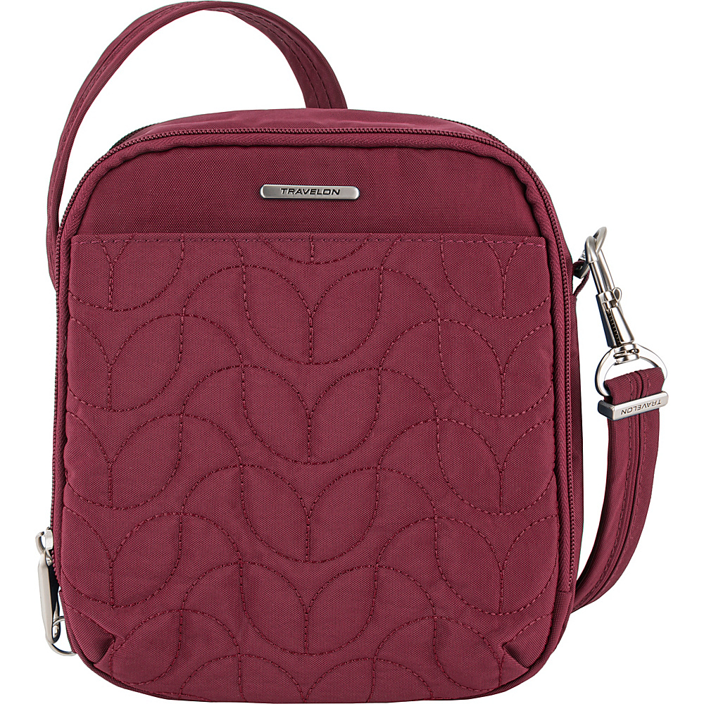 Travelon Anti-Theft Quilted Tour Bag - Exclusive Ruby/Dusty Rose Interior - Travelon Fabric Handbags - Handbags, Fabric Handbags