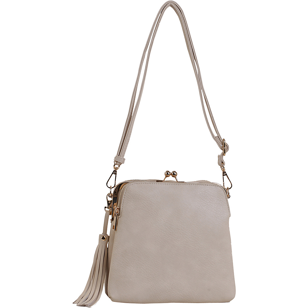 MKF Collection by Mia K. Farrow Samirah Triple Compartment Crossbody/Shoulder Bag Beige - MKF Collection by Mia K. Farrow Manmade Handbags - Handbags, Manmade Handbags