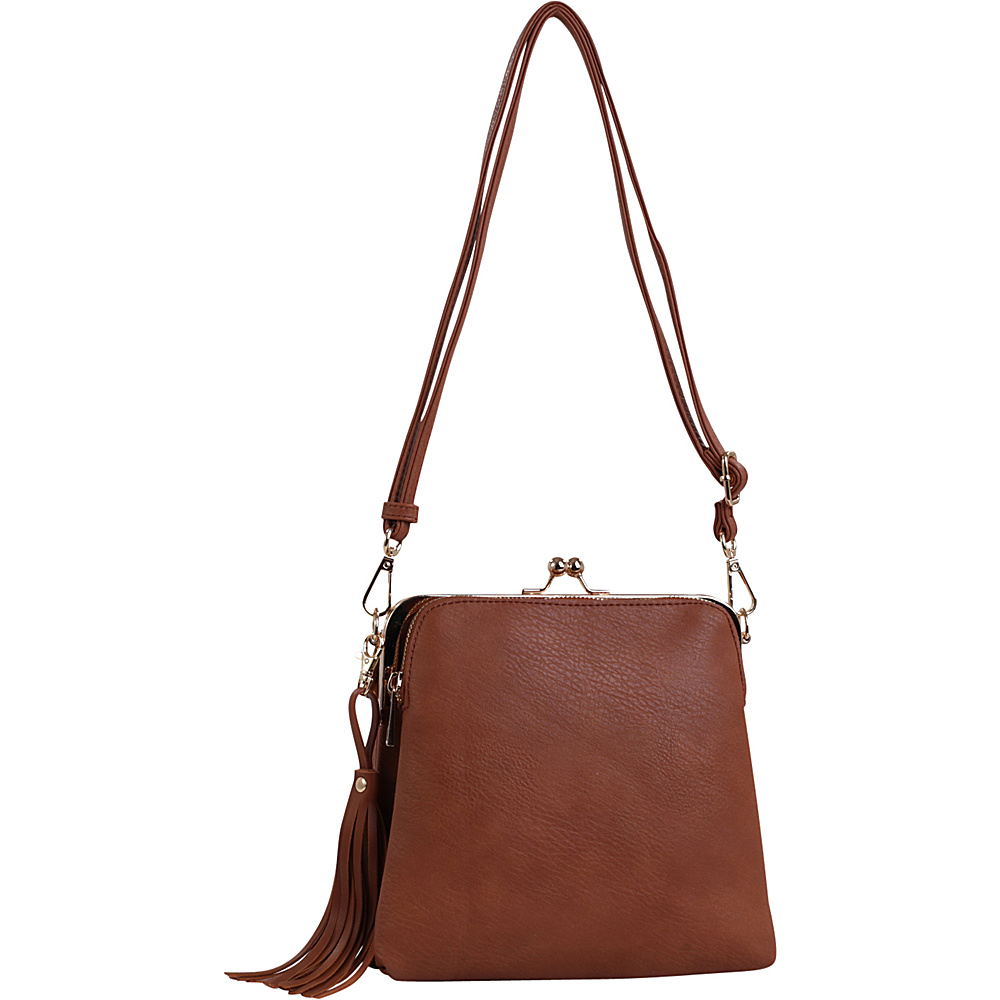 MKF Collection by Mia K. Farrow Samirah Triple Compartment Crossbody/Shoulder Bag Brown - MKF Collection by Mia K. Farrow Manmade Handbags - Handbags, Manmade Handbags