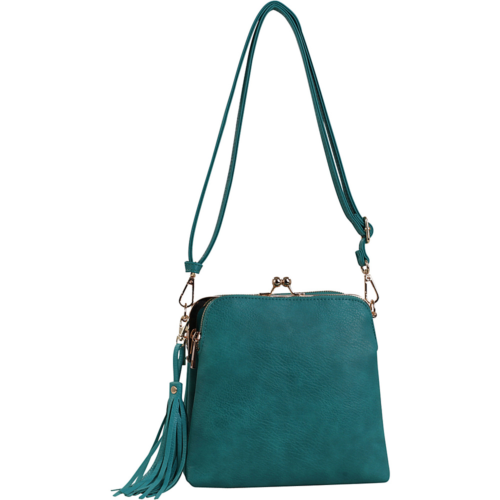 MKF Collection by Mia K. Farrow Samirah Triple Compartment Crossbody/Shoulder Bag Teal Blue - MKF Collection by Mia K. Farrow Manmade Handbags - Handbags, Manmade Handbags