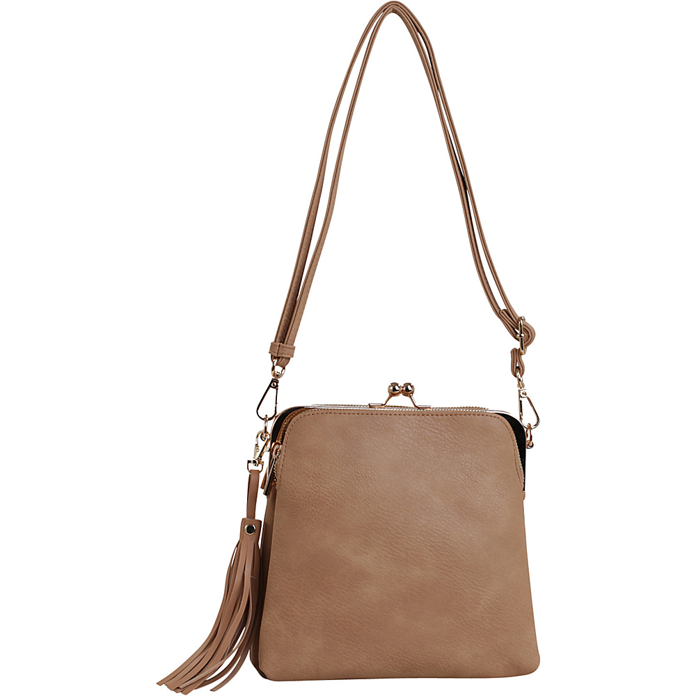 MKF Collection by Mia K. Farrow Samirah Triple Compartment Crossbody/Shoulder Bag Tan - MKF Collection by Mia K. Farrow Manmade Handbags - Handbags, Manmade Handbags