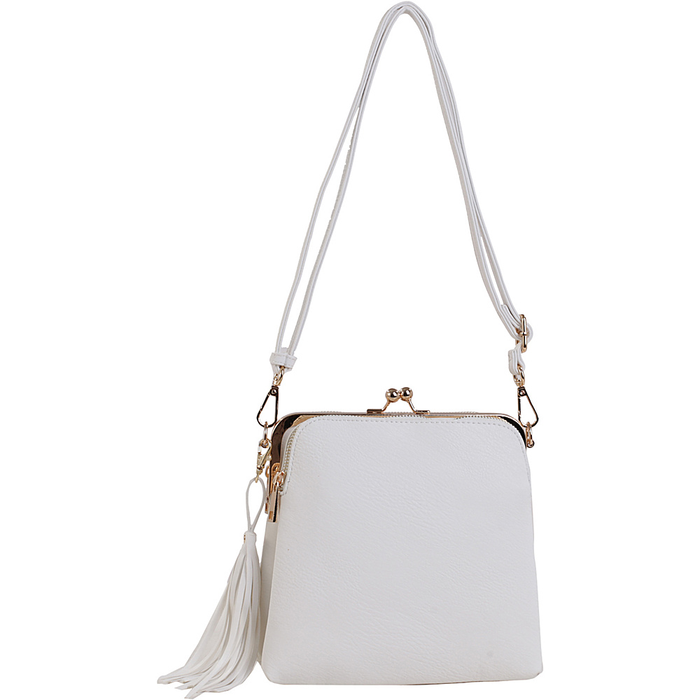 MKF Collection by Mia K. Farrow Samirah Triple Compartment Crossbody/Shoulder Bag White - MKF Collection by Mia K. Farrow Manmade Handbags - Handbags, Manmade Handbags