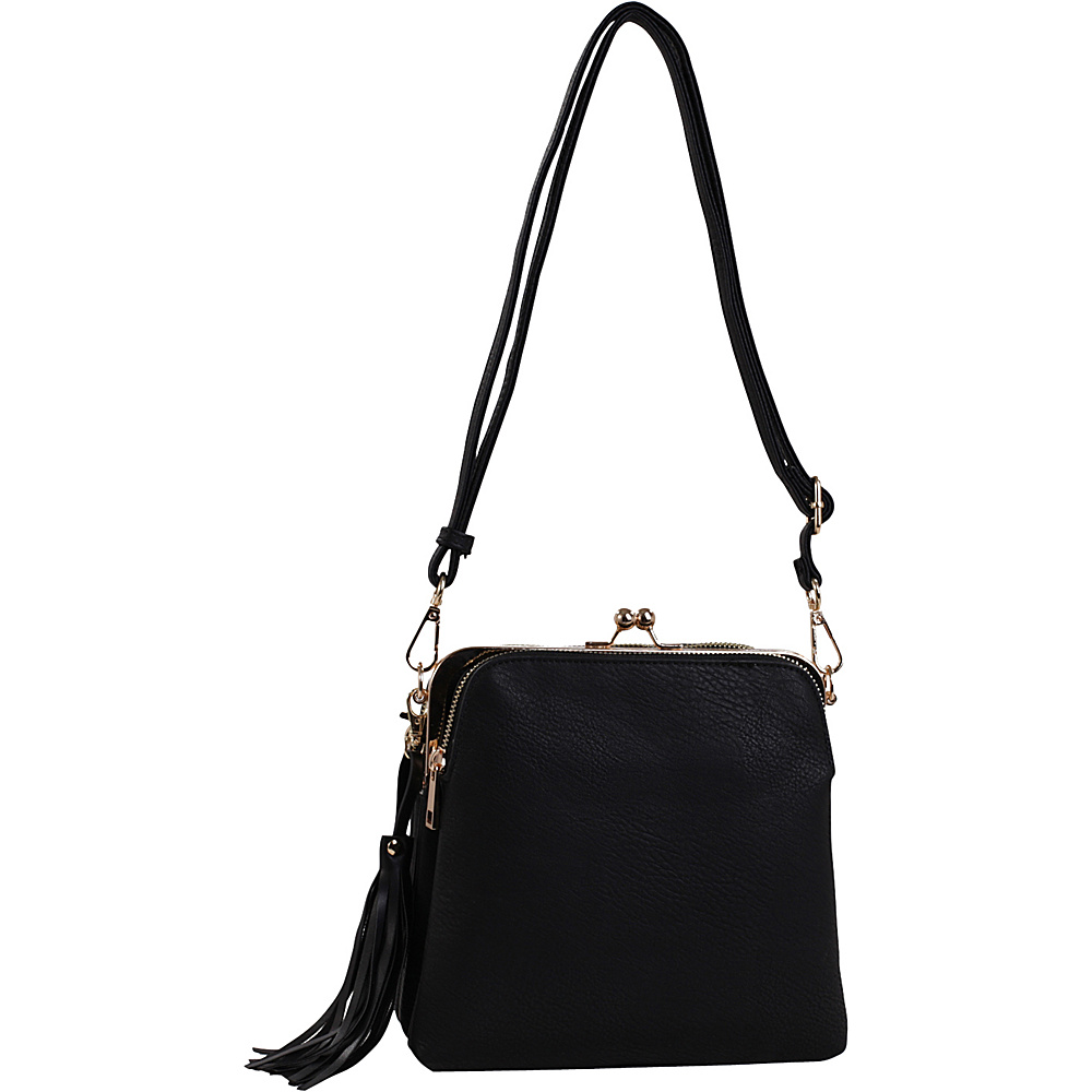 MKF Collection by Mia K. Farrow Samirah Triple Compartment Crossbody/Shoulder Bag Black - MKF Collection by Mia K. Farrow Manmade Handbags - Handbags, Manmade Handbags