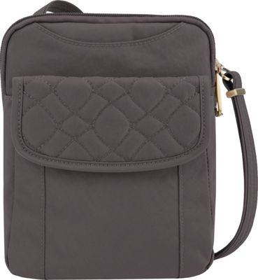 Travelon Anti-Theft Signature Quilted Slim Pouch Smoke/Plum Interior - Travelon Fabric Handbags