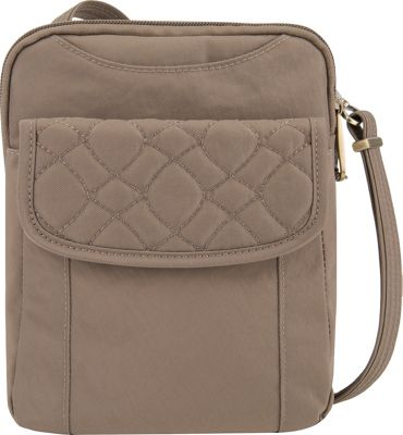 Travelon Anti-Theft Signature Quilted Slim Pouch Sable/Plum Interior - Travelon Fabric Handbags