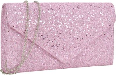 Dasein Glitter Frosted Evening Clutch with Removable Chain Strap Pink - Dasein Evening Bags
