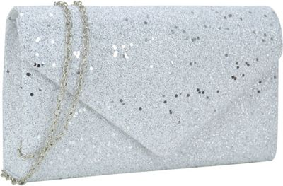 Dasein Glitter Frosted Evening Clutch with Removable Chain Strap White - Dasein Evening Bags