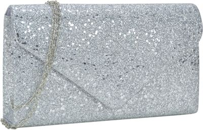 Dasein Glitter Frosted Evening Clutch with Removable Chain Strap Silver - Dasein Evening Bags
