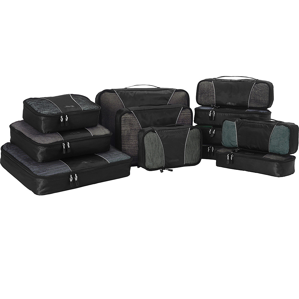 eBags Pro Packer 12pc Packing Cube Set Black - eBags Travel Organizers