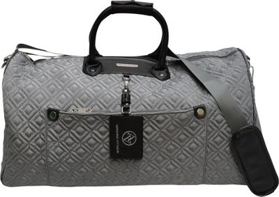 """Image of Adrienne Vittadini 22"""" Quilted Nylon Duffel Gray - Adrienne Vittadini Softside Carry-On"""