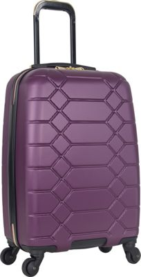 "Image of Aimee Kestenberg Diamond Anaconda 20"" Lightweight Hardside Spinner Carry-On Plum With Gold Hardware - Aimee Kestenberg Hardside Carry-On"