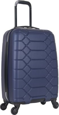 "Image of Aimee Kestenberg Diamond Anaconda 20"" Lightweight Hardside Spinner Carry-On Navy With Silver Hardware - Aimee Kestenberg Hardside Carry-On"