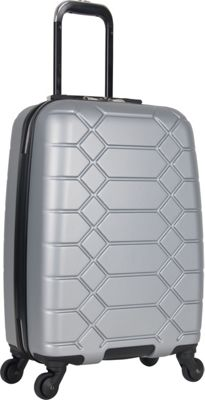 "Image of Aimee Kestenberg Diamond Anaconda 20"" Lightweight Hardside Spinner Carry-On Metallic Light Silver with Silver Hardware - Aimee Kestenberg Hardside Carry-On"