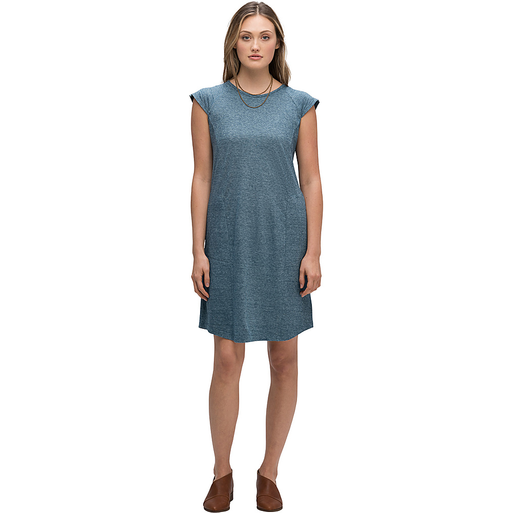 NAU Clothing Womens Kanab Capsleeve Dress XS - Lagoon Heather - NAU Clothing Women's Apparel Womens Kanab Capsleeve Dress XS - Lagoon Heather. A mid-length dress that wears like a well-worn T-shirt, the scoop-necked Short Sleeve Kanab Capsleeve Dress blends the comfort and breathability of hemp and organic cotton into a vision of casual sophistication.