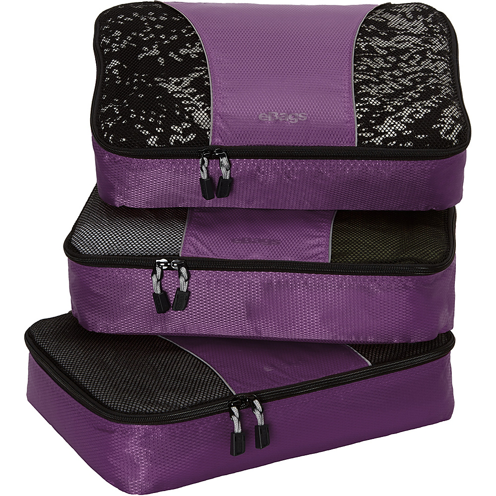 eBags Medium Packing Cubes - 3pc Set Eggplant - eBags Travel Organizers - Travel Accessories, Travel Organizers