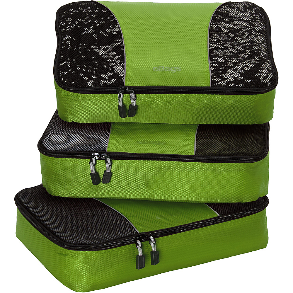 eBags Medium Packing Cubes - 3pc Set - Grasshopper - Travel Accessories, Travel Organizers