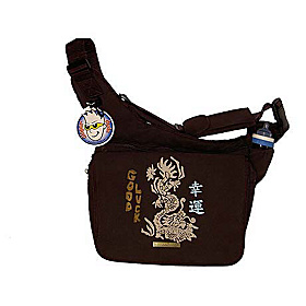 Faux Suede Diaper Bag with Good Luck Dragon Brown with Good Luck Dragon