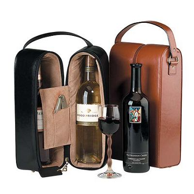Royce Leather Double Wine Presentation Case - Black