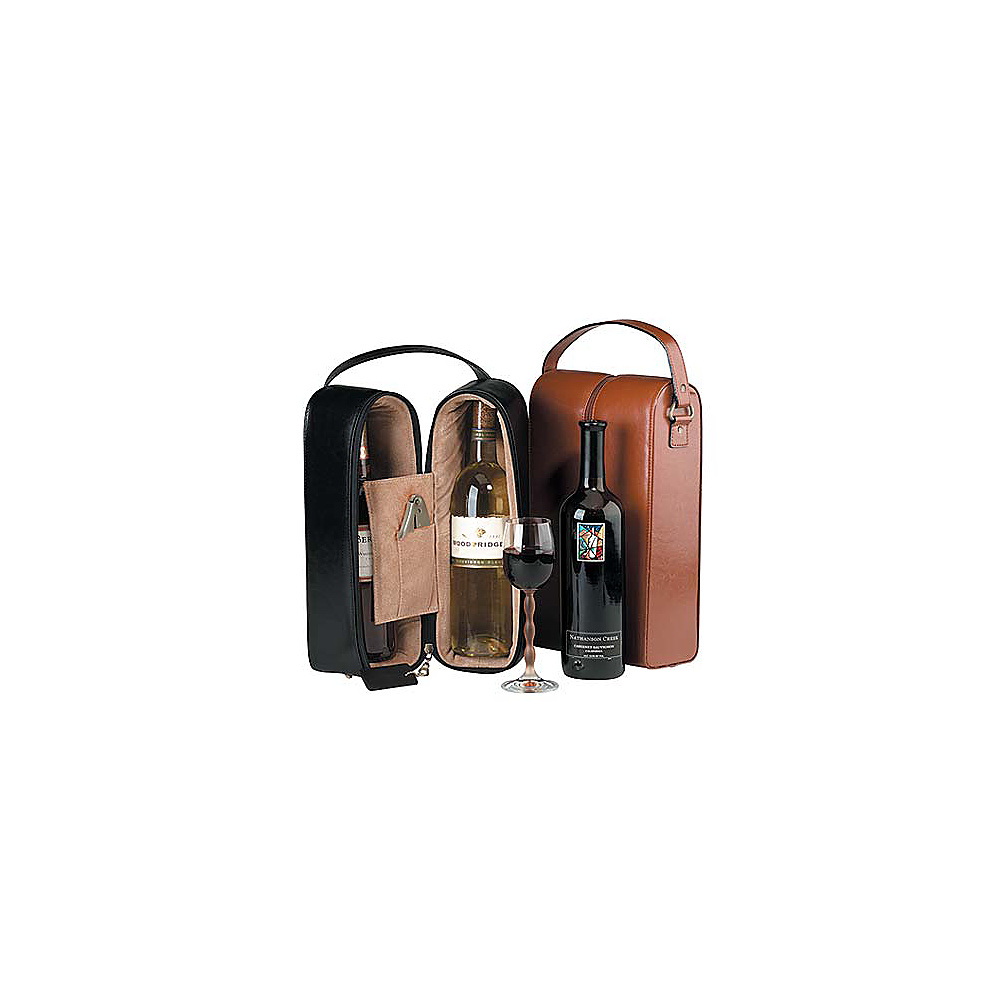 Royce Leather Double Wine Presentation Case - Black - Outdoor, Outdoor Accessories