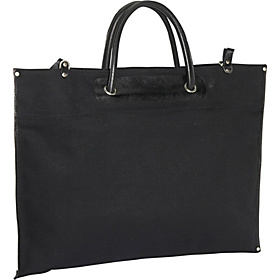 Canvas / Leather Roll-Up Tote Black Nylon w/Black Trim
