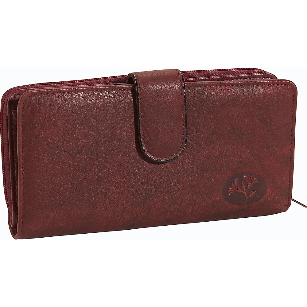 Buxton Heiress Checkbook Clutch Burgundy - Buxton Womens Wallets - Women's SLG, Women's Wallets