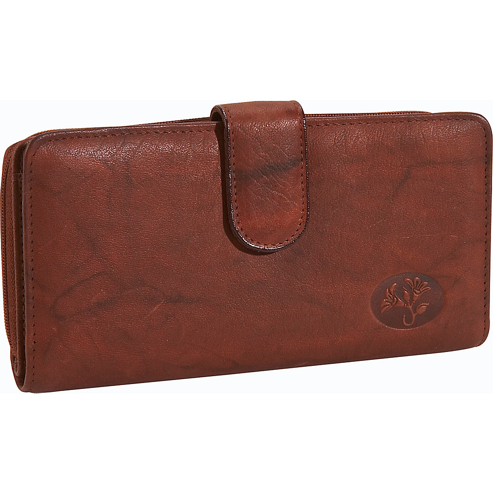 Buxton Heiress Checkbook Clutch Mahogany - Buxton Women's Wallets