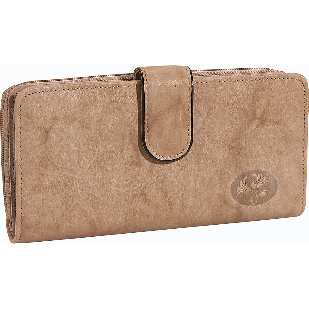 Buxton Heiress Checkbook Clutch Taupe - Buxton Womens Wallets - Women's SLG, Women's Wallets