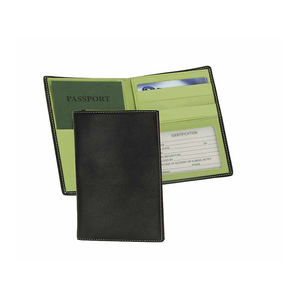 Royce Leather Passport Currency Wallet - Black/Key Lime - Travel Accessories, Travel Wallets