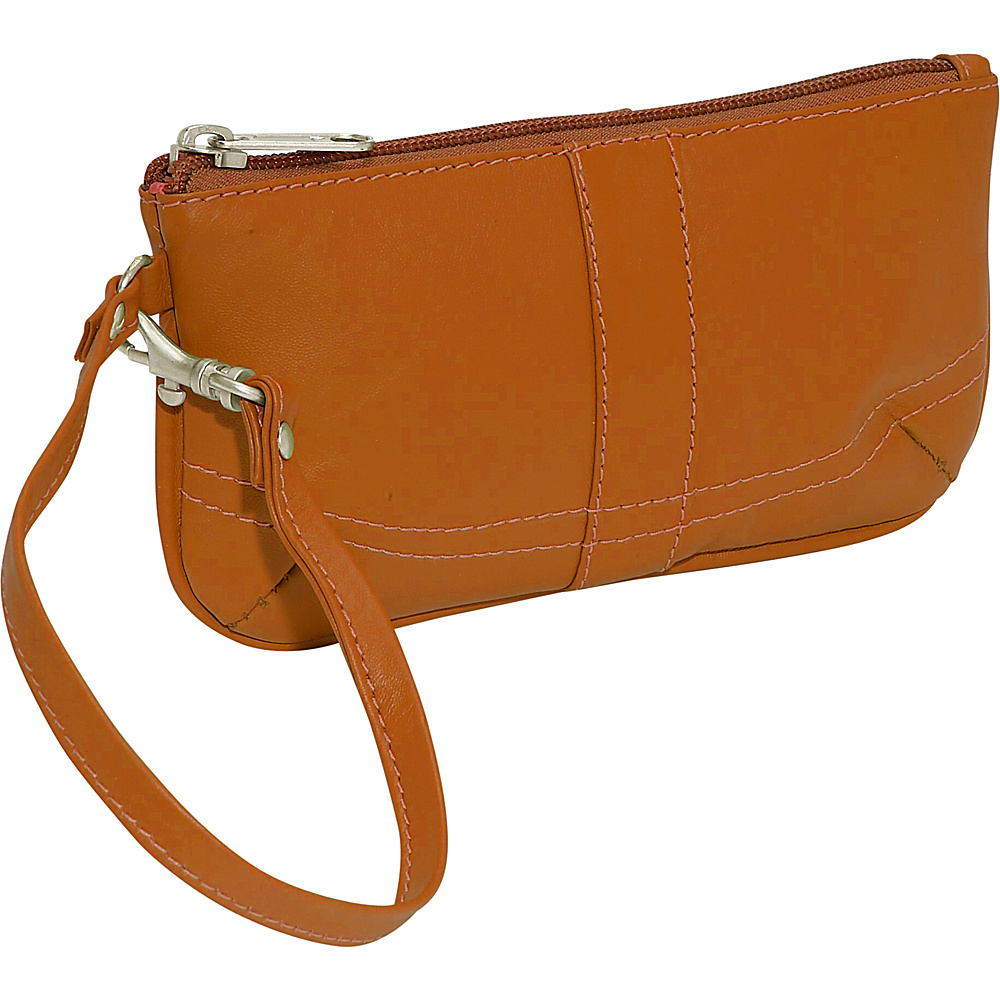 Piel Ladies Wristlet Bag - Saddle - Women's SLG, Women's Wallets