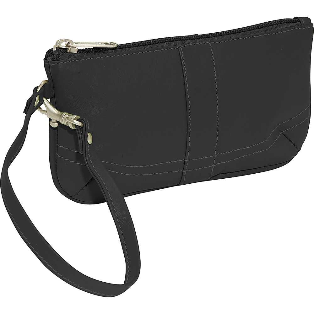 Piel Ladies Wristlet Bag - Black - Women's SLG, Women's Wallets