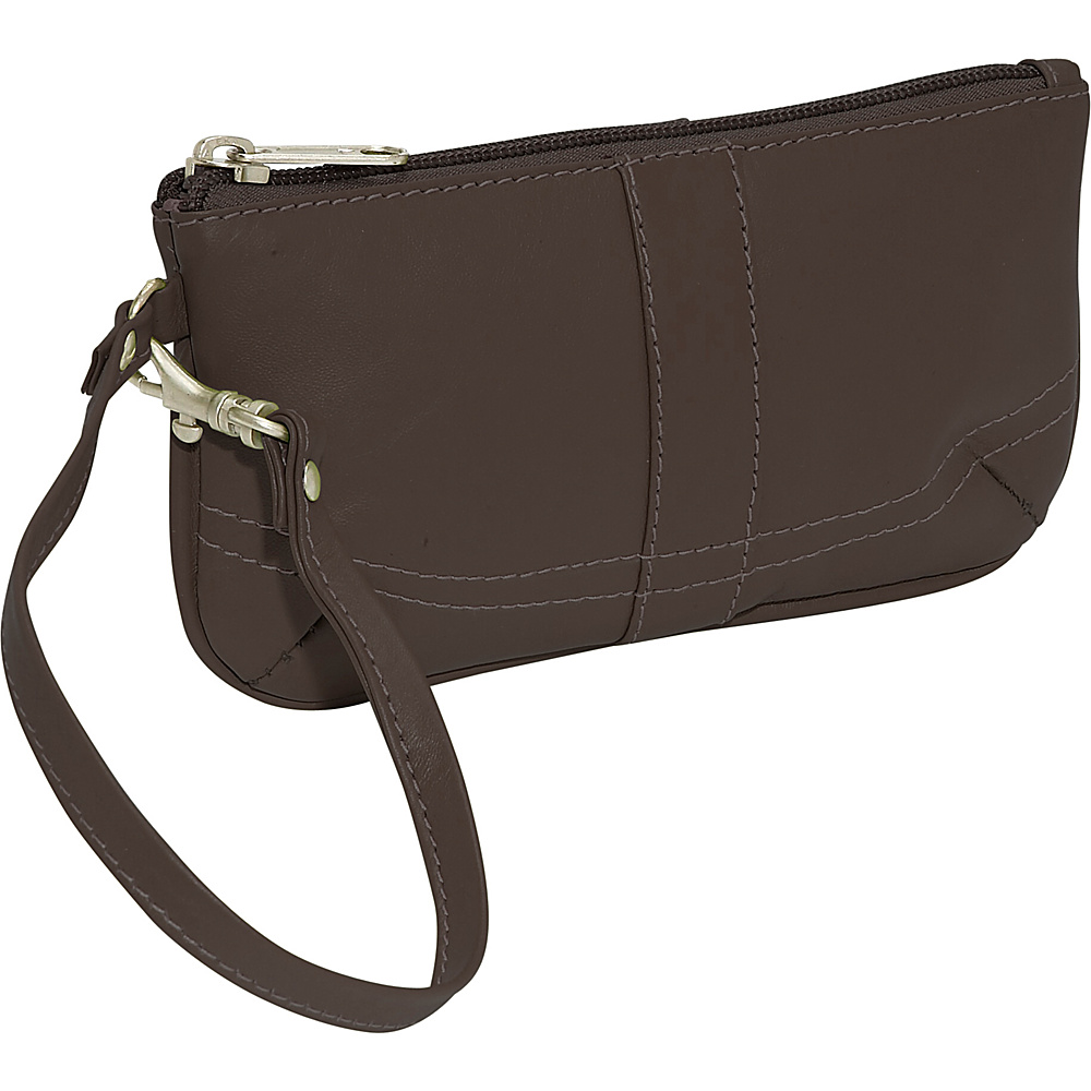 Piel Ladies Wristlet Bag - Chocolate - Women's SLG, Women's Wallets